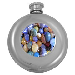 Rock Tumbler Used To Polish A Collection Of Small Colorful Pebbles Round Hip Flask (5 Oz)