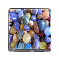 Rock Tumbler Used To Polish A Collection Of Small Colorful Pebbles Memory Card Reader (square)