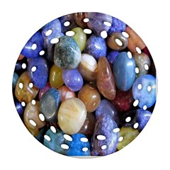 Rock Tumbler Used To Polish A Collection Of Small Colorful Pebbles Ornament (round Filigree)
