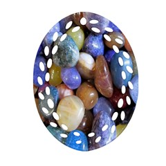 Rock Tumbler Used To Polish A Collection Of Small Colorful Pebbles Oval Filigree Ornament (Two Sides)