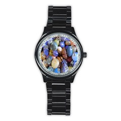 Rock Tumbler Used To Polish A Collection Of Small Colorful Pebbles Stainless Steel Round Watch