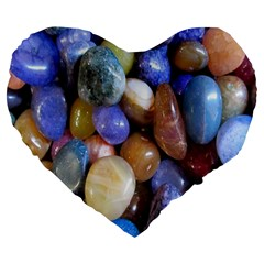 Rock Tumbler Used To Polish A Collection Of Small Colorful Pebbles Large 19  Premium Flano Heart Shape Cushions