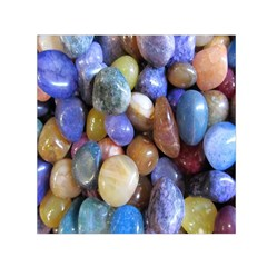 Rock Tumbler Used To Polish A Collection Of Small Colorful Pebbles Small Satin Scarf (Square)