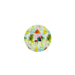 Summer House And Garden A Completely Seamless Tile Able Background 1  Mini Magnets