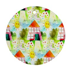 Summer House And Garden A Completely Seamless Tile Able Background Ornament (Round)