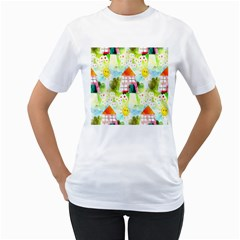 Summer House And Garden A Completely Seamless Tile Able Background Women s T Shirt (white) (two Sided)