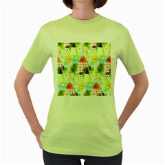 Summer House And Garden A Completely Seamless Tile Able Background Women s Green T Shirt
