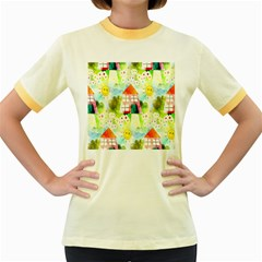 Summer House And Garden A Completely Seamless Tile Able Background Women s Fitted Ringer T Shirts