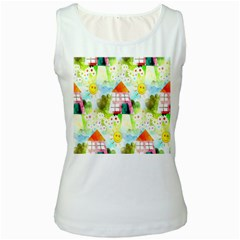 Summer House And Garden A Completely Seamless Tile Able Background Women s White Tank Top