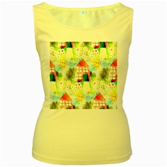 Summer House And Garden A Completely Seamless Tile Able Background Women s Yellow Tank Top
