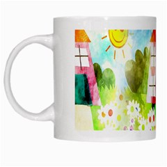 Summer House And Garden A Completely Seamless Tile Able Background White Mugs