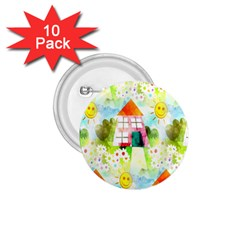 Summer House And Garden A Completely Seamless Tile Able Background 1 75  Buttons (10 Pack)