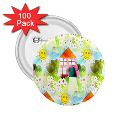 Summer House And Garden A Completely Seamless Tile Able Background 2 25  Buttons (100 Pack)