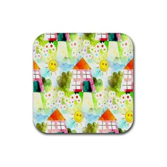 Summer House And Garden A Completely Seamless Tile Able Background Rubber Square Coaster (4 Pack)