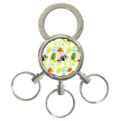 Summer House And Garden A Completely Seamless Tile Able Background 3-Ring Key Chains