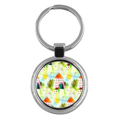 Summer House And Garden A Completely Seamless Tile Able Background Key Chains (round)