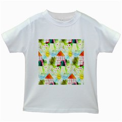 Summer House And Garden A Completely Seamless Tile Able Background Kids White T Shirts