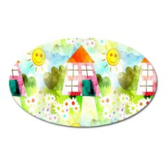 Summer House And Garden A Completely Seamless Tile Able Background Oval Magnet