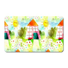 Summer House And Garden A Completely Seamless Tile Able Background Magnet (Rectangular)