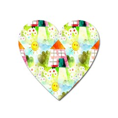 Summer House And Garden A Completely Seamless Tile Able Background Heart Magnet