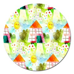 Summer House And Garden A Completely Seamless Tile Able Background Magnet 5  (Round)