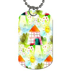 Summer House And Garden A Completely Seamless Tile Able Background Dog Tag (One Side)