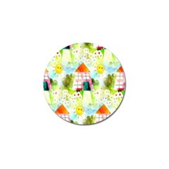 Summer House And Garden A Completely Seamless Tile Able Background Golf Ball Marker