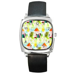 Summer House And Garden A Completely Seamless Tile Able Background Square Metal Watch