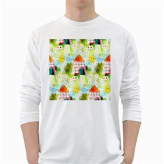 Summer House And Garden A Completely Seamless Tile Able Background White Long Sleeve T-Shirts