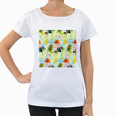 Summer House And Garden A Completely Seamless Tile Able Background Women s Loose Fit T Shirt (white)