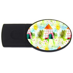 Summer House And Garden A Completely Seamless Tile Able Background Usb Flash Drive Oval (4 Gb)