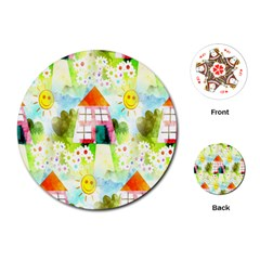 Summer House And Garden A Completely Seamless Tile Able Background Playing Cards (Round)