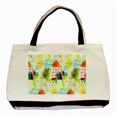 Summer House And Garden A Completely Seamless Tile Able Background Basic Tote Bag