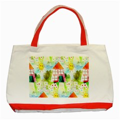 Summer House And Garden A Completely Seamless Tile Able Background Classic Tote Bag (Red)