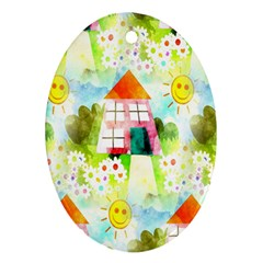 Summer House And Garden A Completely Seamless Tile Able Background Oval Ornament (Two Sides)