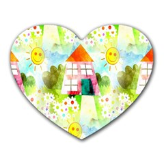 Summer House And Garden A Completely Seamless Tile Able Background Heart Mousepads