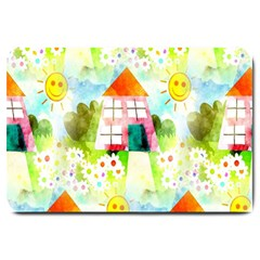 Summer House And Garden A Completely Seamless Tile Able Background Large Doormat
