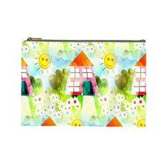 Summer House And Garden A Completely Seamless Tile Able Background Cosmetic Bag (large)