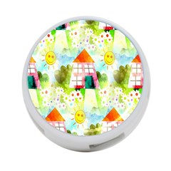 Summer House And Garden A Completely Seamless Tile Able Background 4 Port Usb Hub (two Sides)