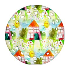 Summer House And Garden A Completely Seamless Tile Able Background Ornament (Round Filigree)