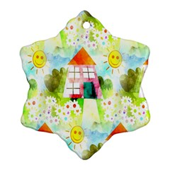 Summer House And Garden A Completely Seamless Tile Able Background Snowflake Ornament (two Sides)