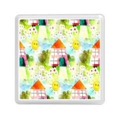 Summer House And Garden A Completely Seamless Tile Able Background Memory Card Reader (square)