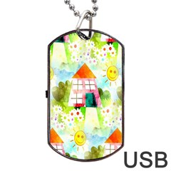 Summer House And Garden A Completely Seamless Tile Able Background Dog Tag USB Flash (One Side)
