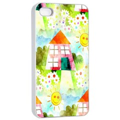 Summer House And Garden A Completely Seamless Tile Able Background Apple Iphone 4/4s Seamless Case (white)