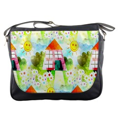 Summer House And Garden A Completely Seamless Tile Able Background Messenger Bags