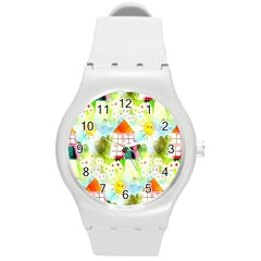 Summer House And Garden A Completely Seamless Tile Able Background Round Plastic Sport Watch (M)