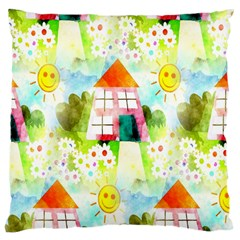 Summer House And Garden A Completely Seamless Tile Able Background Large Cushion Case (Two Sides)
