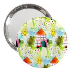 Summer House And Garden A Completely Seamless Tile Able Background 3  Handbag Mirrors