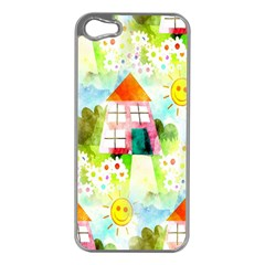 Summer House And Garden A Completely Seamless Tile Able Background Apple Iphone 5 Case (silver)