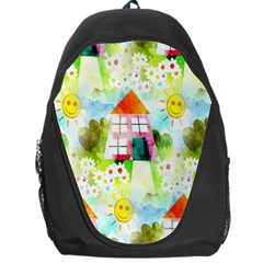 Summer House And Garden A Completely Seamless Tile Able Background Backpack Bag